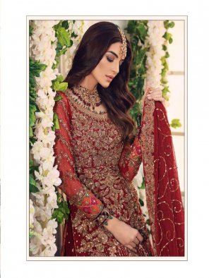 red georgette fabric embroidery work occasionaly