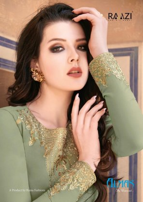 mhendi green georgette fabric embroidery work occasionaly