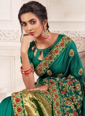 rama green vichtra silk  fabric embroidery work festival