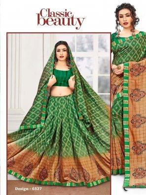 dark green vichtra silk fabric printed work party