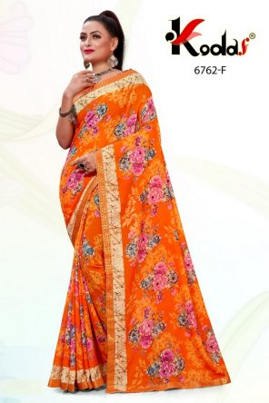 orange yellow rennial fabric printed work wedding
