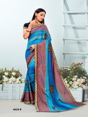 sky blue vichtra silk fabric printed work festival