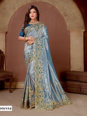 sky blue silk fabric embroidery work ethnic