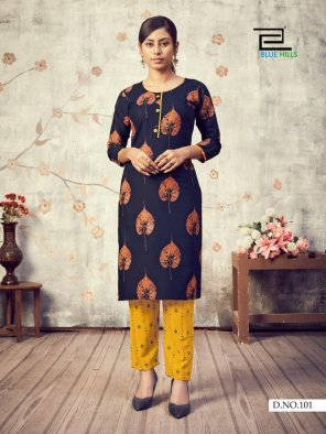 navy blue rayon fabric printed work party