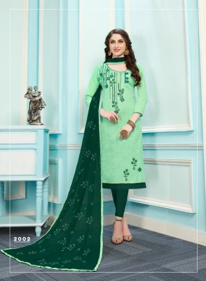 pista green cotton fabric embroidery work festival