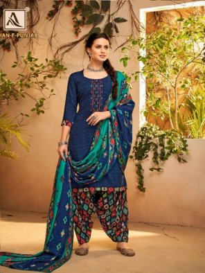 blue pure pashmina fabric self print with embroidery work casual