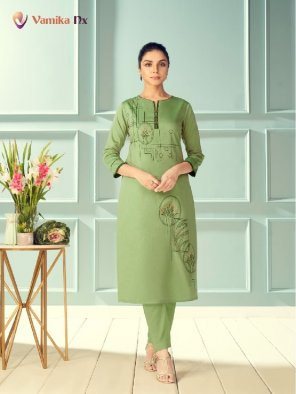 mhendi greeen pure viscose fabric embroidery work tredtionalparty