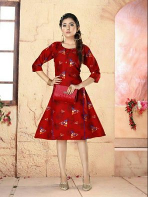 red rayon fabric printed work occasionaly