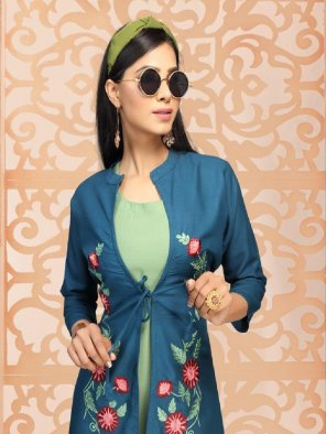 pista green rayon fabric embroidery work ethnic