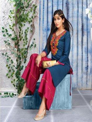 rama green rayon fabric embroidery work ethnic