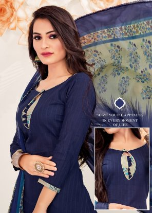 navy blue cotton fabric printed work casual