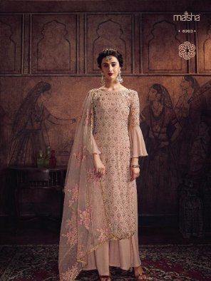 butter cream georgette fabric embroidery work wedding