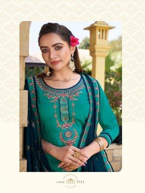 rama green jam silk fabric embroidery work wedding