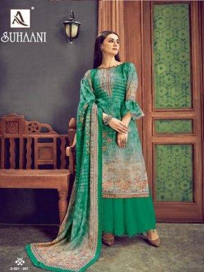 green wool pashmina fabric digital print work casual