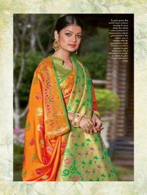 orange banarasi silk fabric jaquard print work wedding