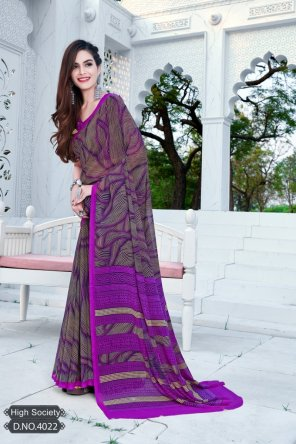 violet georgette fabric printed work occasionaly