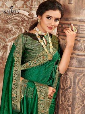 dark green vichtra silk fabric embroidery work festival