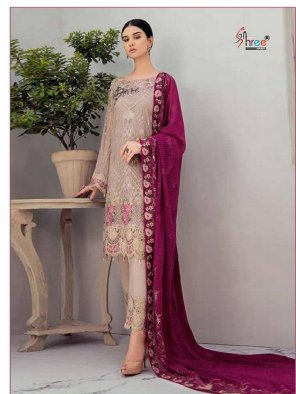 salmon georgette fabric embroidery  work feastval