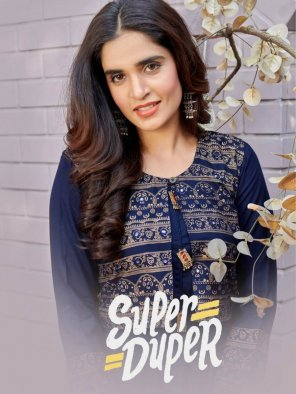 navy blue rayon fabric foil print work daily