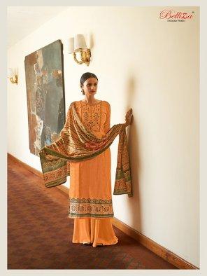 orange jam cotton fabric embroidery work wedding