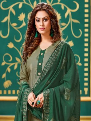 mhendi green rayon fabric printed work wedding