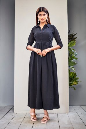 black polly georgette fabric printed work wedding