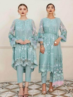 mint georgette fabric embroidery work feastval