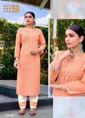 peach cotton fabric embroidery work ethnic