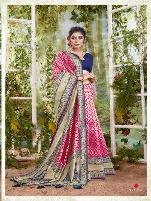 rani silk fabric jaquard print work wedding