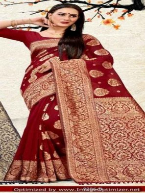 red cotton silk fabric printed work festival