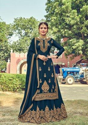 rama green georgette fabric embroidery work ethnic