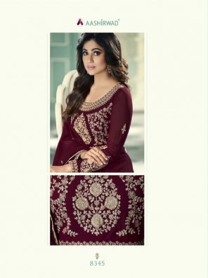 maroon georgette fabric embroidery work party