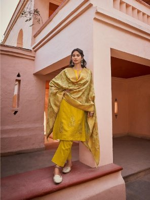 yellow pure maslin fabric printed work ethnic