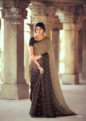 dark brown chiffon fabric printed work ethnic