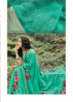 pista green georgette fabric printed work party