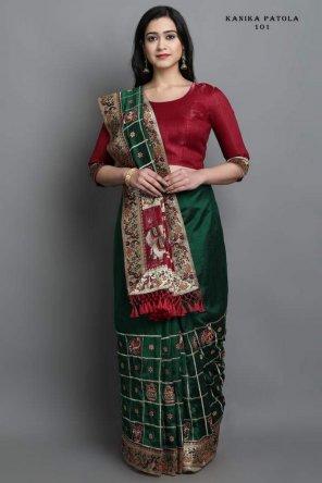 dark green havy soft silk fabric embroidery work casual