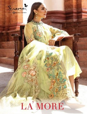 perrot green georgette fabric embroidery work wedding