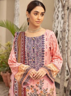 pink lawn cotton fabric printed work party