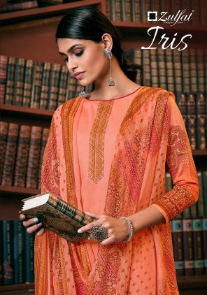 peach jaam cotton fabric printed work occasionaly