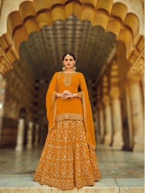 yellow georgette fabric embroidery work occasionaly