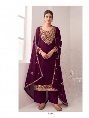 violet georgette fabric embroidery work occasionaly
