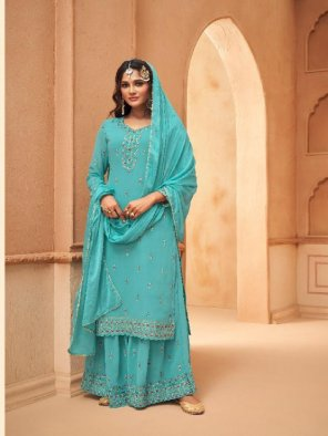 sky blue georgette fabric embroidery work occasionaly