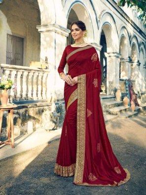 maroon vichtra silk fabric foil print work wedding