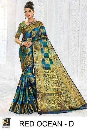 blue lichi silk fabric printed work festival