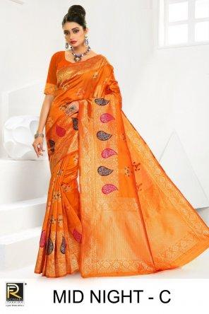 orange silk fabric printed work festival