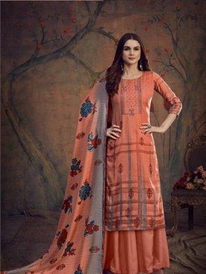 peach pashmina fabric printed work casual