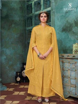yellow faux georgette fabric chiken embroidery work festival