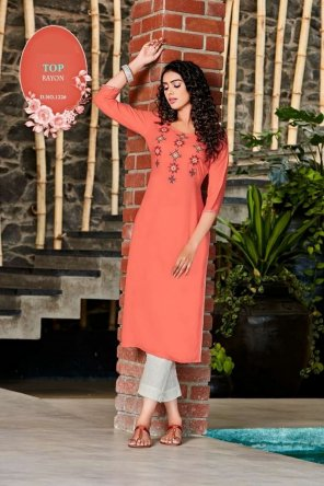 peach rayon fabric embroidery work ethnic