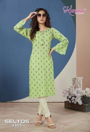 pista green rayon fabric printed work ethnic