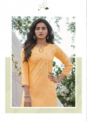 light orange cotton fabric embroidery work casual